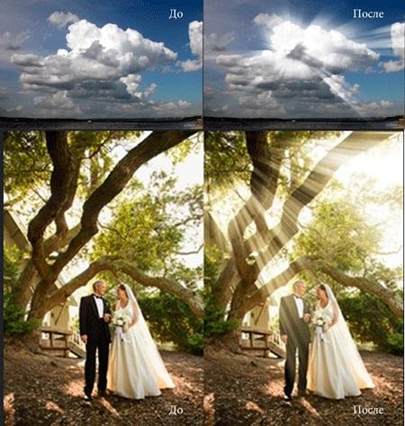Как сделать солнце лучи в фотошопе